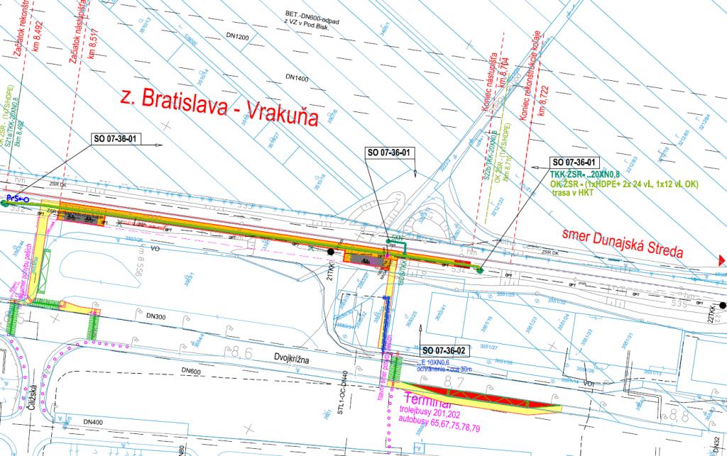 Situovanie novej zastávky Vrakuňa a presunutej zastávky MHD je zrejmé z obrázku